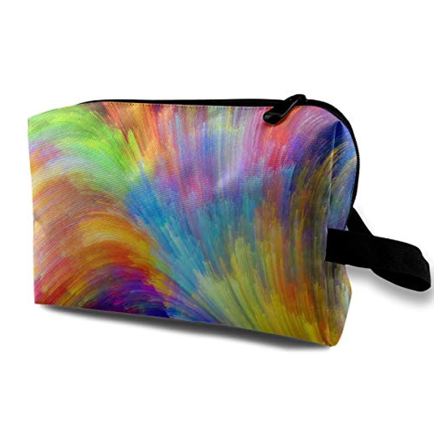 天のハイキングに行く多年生Fractal Rainbow Ocean 収納ポーチ 化粧ポーチ 大容量 軽量 耐久性 ハンドル付持ち運び便利。入れ 自宅?出張?旅行?アウトドア撮影などに対応。メンズ レディース トラベルグッズ