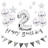 【Shiseikokusai 】 HAPPY BIRTHDAY お子様誕生日パーティー 豪華 誕生日 飾り付け セット シルバー(hw-ys02)