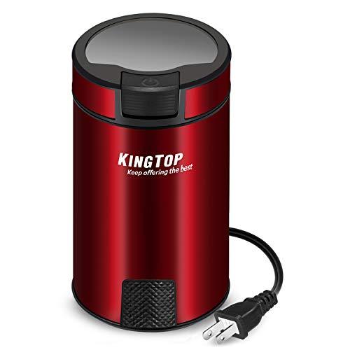 コーヒーミル 電動式 コーヒーグラインダー KINGTOP 豆挽き 200Wハイパワー 日本語説明書付き レッド