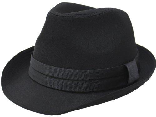 (エクサス)EXAS (大きめ62cm)ブラックボディー無地サテンリボン中折れハット(透明な帽子置き付き) ブラックブラック
