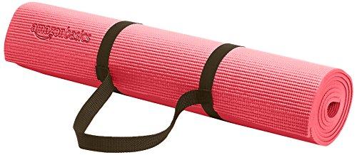 Amazonベーシック ヨガマット 厚さ6ミリ キャリーストラップ付きで持ち運びに便利 ピンク
