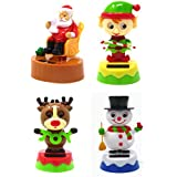 (4 Pack) Plastic Solar-Powered Dancing Christmas Characters, 4�