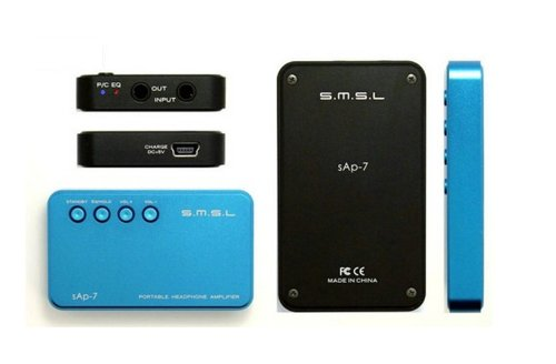 S.M.S.L sAp-7 充電/持ち運びOK!バンド付 ポータブルヘッドフォンアンプ 【ブルー】