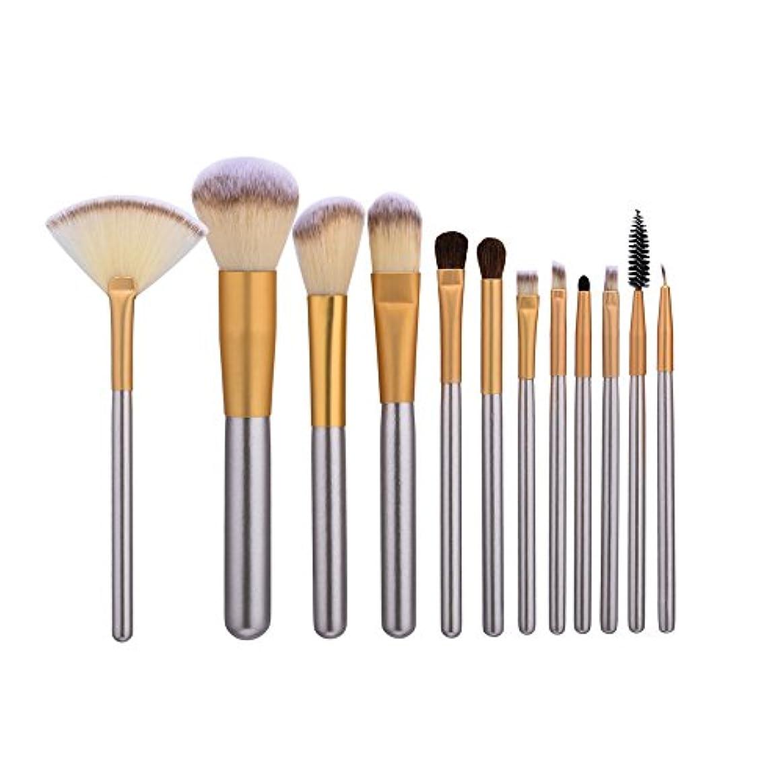 タッチヒール応援するAkane 12本 GUJHUI 欧米風 シルバー 魅力的 多機能 高級 綺麗 セート 柔らかい たっぷり 上等な使用感 激安 日常 仕事 おしゃれ Makeup Brush メイクアップブラシ