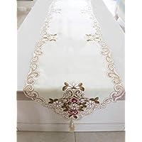 ヨーロッパ風の田舎な刺繍テーブルフラグ テーブル ランナー テーブルランナー タッセルテーブルフラグ ホワイトレースのコーヒーテーブルマット キッチンとリビングルームの飾り(40 * 175)
