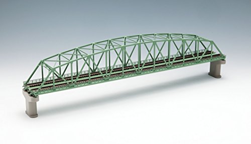 TOMIX Nゲージ 3222 複線曲弦大トラス鉄橋 (F) (緑) (複線PC橋脚・2本付)