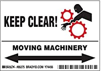 Brady 86275 Equipment/Oem Labels 3 1/2 Height x 5 Width Black/Red on White Legend Keep Clear! Moving Machinery (5 per Package) [並行輸入品]