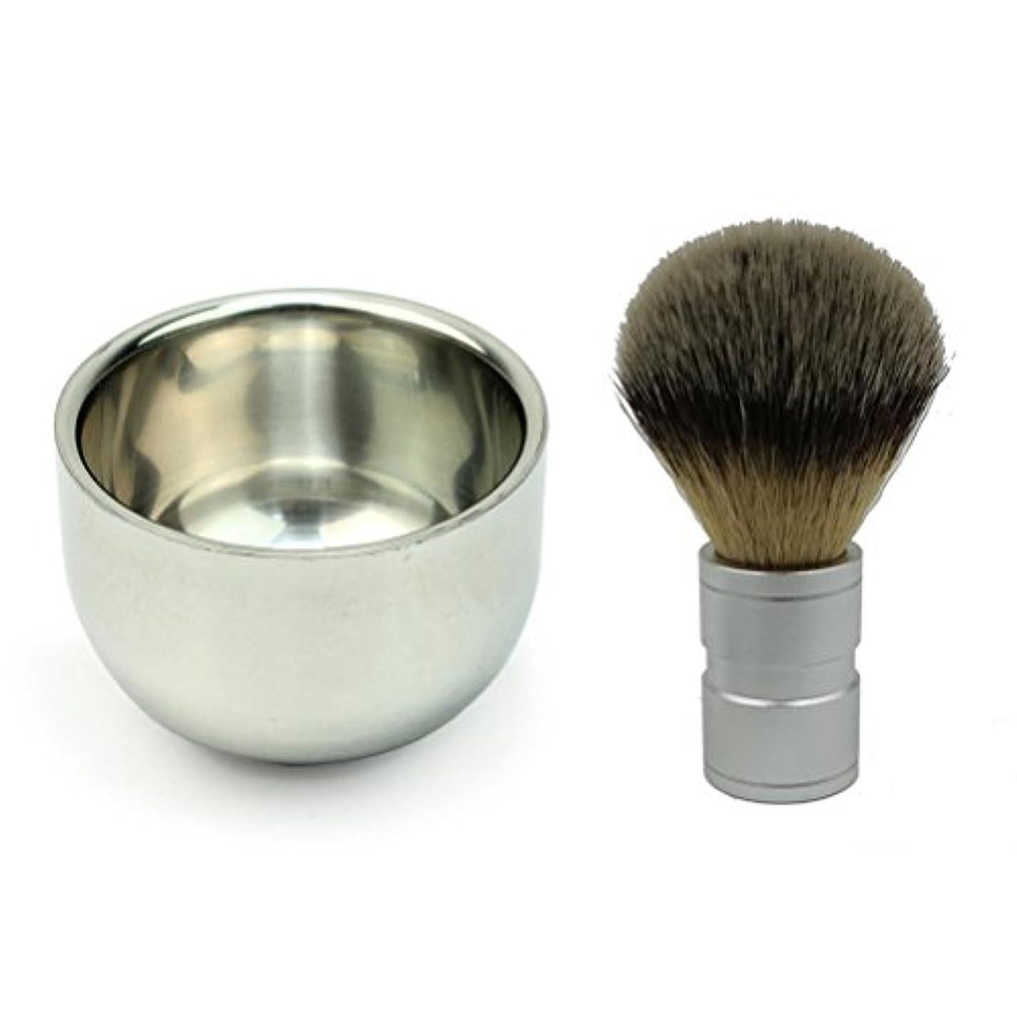 何もないリスナーカウンタROSENICE ステンレス鋼剃るボウル マグとアナグマ毛シェービング ブラシ