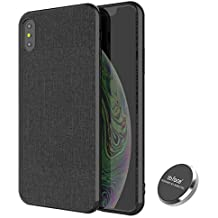 for iPhone XR Magnetic Case PU Leather Fabric Pattern Plastic Hard Case with Invisible Built-in Metal Plate for Magnet Phone Holder (DO NOT Support Wireless Charging) - 6.1 inch, Balck