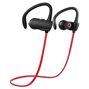 SoundPEATS サウンドピーツ Q9A Bluetooth ワイヤレス イヤホン 耳掛け式 Bluetooth 4.1 aptXコーデック採用 CVC6.0ノイズキャンセリング ブラック/レッド
