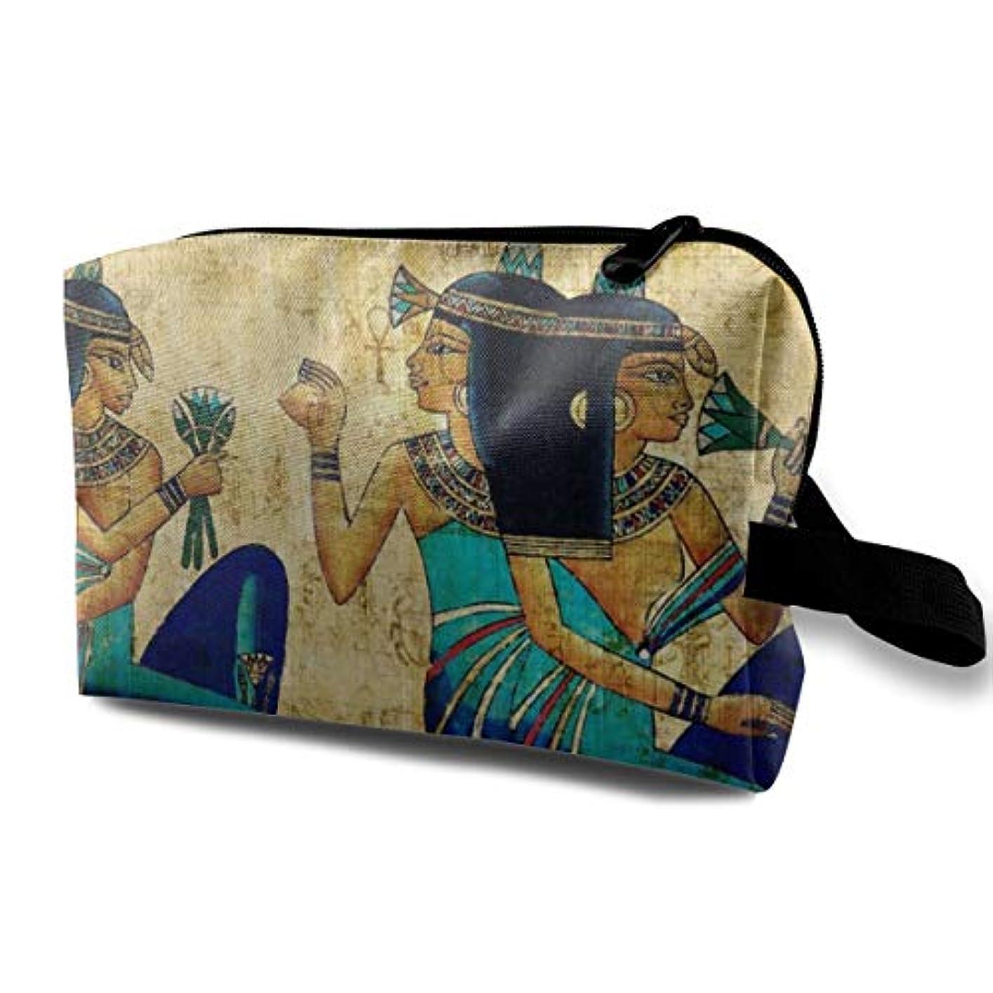 国旗少数有毒Vintage Egyptian 収納ポーチ 化粧ポーチ 大容量 軽量 耐久性 ハンドル付持ち運び便利。入れ 自宅?出張?旅行?アウトドア撮影などに対応。メンズ レディース トラベルグッズ
