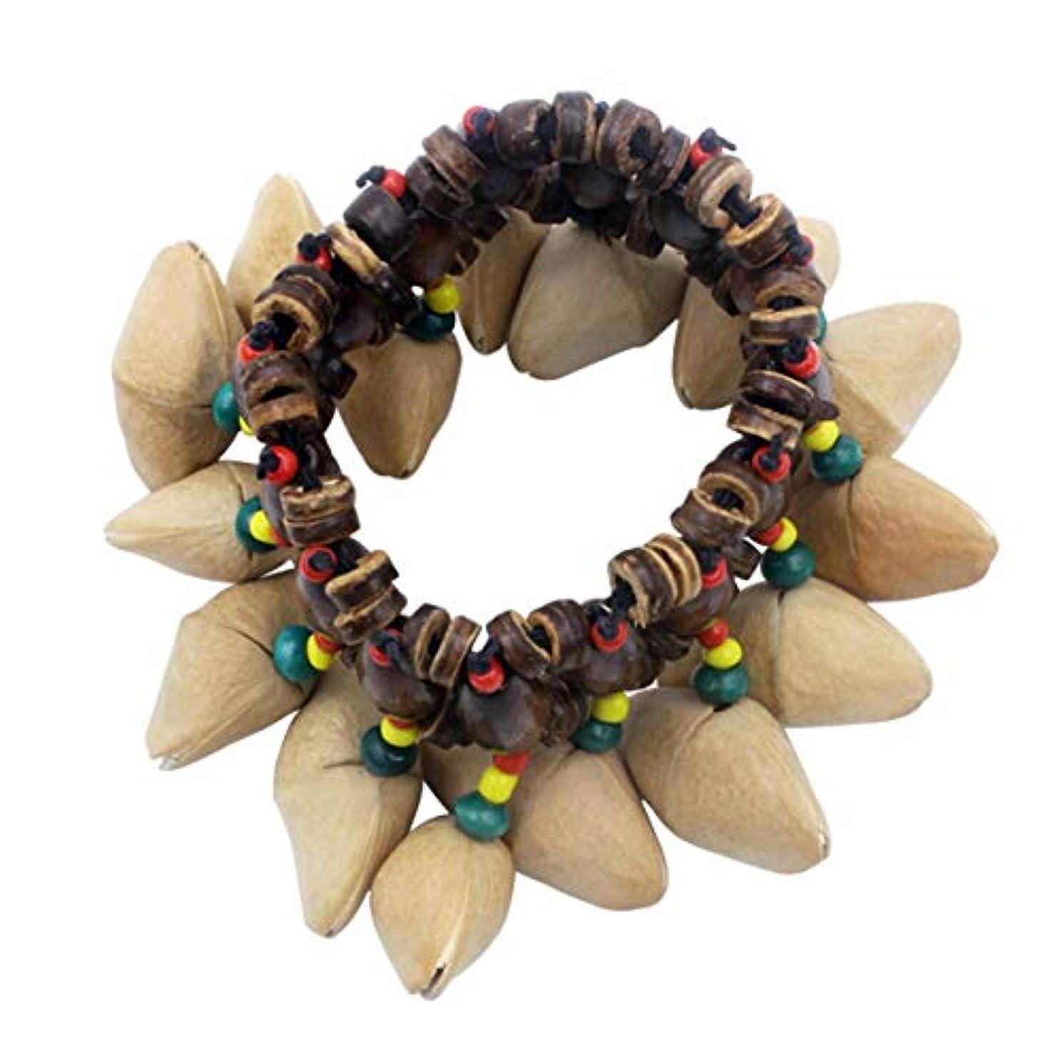 どこにもピアースオーナメントDora Nutshell African Drum Hand Bell Drum Musical Instrument Bell Accessories-Wood Color