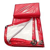 アイレット付き防水ターポリン、頑丈なPVC防水シート防雨オーニングキャンバス引裂抵抗 - 500g /㎡、赤 (サイズ さいず : 4×6m)