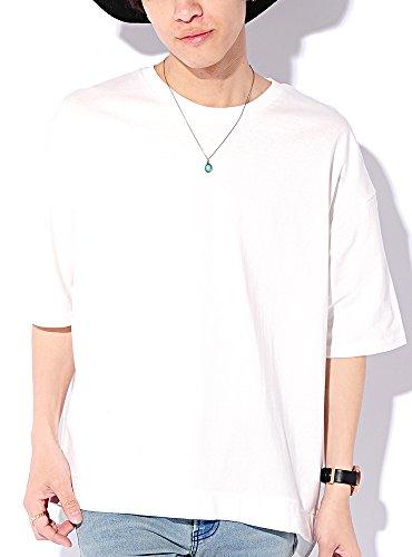 ホワイト L (ベストマート)BestMart コットン 100% ビッグシルエット 無地 半袖 ゆる Tシャツ メンズ スリット 綿 ゆったり カットソー BIG ビック ワイド クルーネック Uネック ティーシャツ 半そで 半袖Tシャツ 622391-006-201