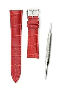 【本革製 クロコダイル型押し レッドブラウン 18mm】時計ベルト 時計バンド ストラップ 交換 腕時計【バネ棒外しセット】