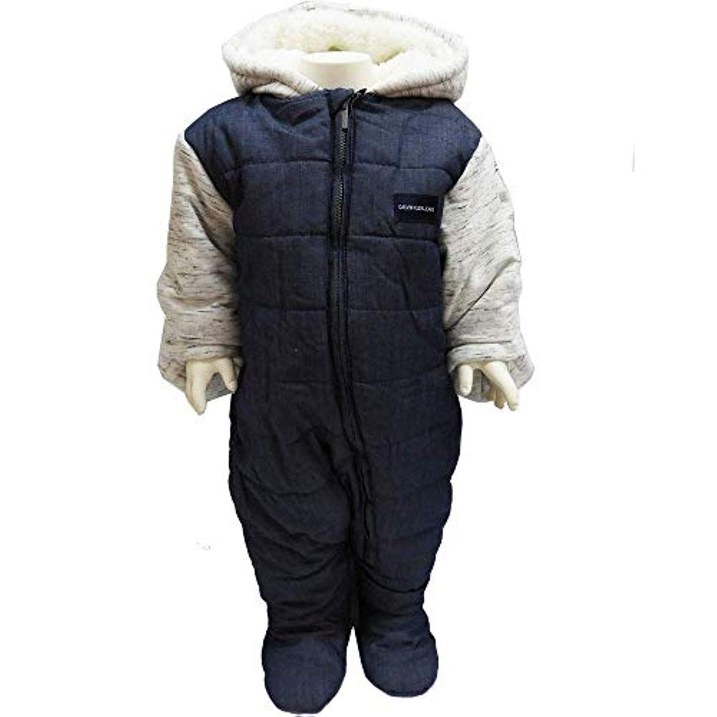 ターゲットリップカーフCalvinKlein カルバンクライン ベビー服 ジャンプスーツ 中綿入り 防寒着 アウター 外出着 デニム風 オールインワン 50cm 60cm 70cm (0/3M=~55cm)