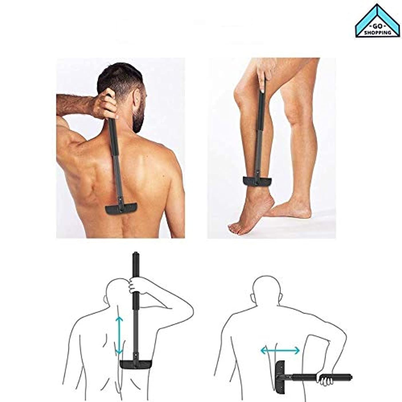 時計回り吸い込む聖人NICEE拡張可能なハンドルの痛みのないひげを剃った男性のための背中の脱毛使いやすい乾湿両方の背中の脱毛剤