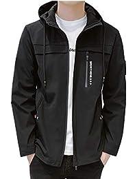 OKJCON ジャケット メンズ 秋冬 コート シンプル ブルゾン 無地 防風 フード付き カジュアル おおきいサイズ