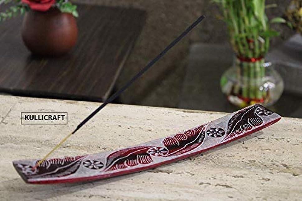 宗教的な教授通訳KC Kullicraft Soapstone Handcrafted Agarbatti Stands with Ash Catcher with 6 Incense Sticks Free Chandan Fragrance (Multi Color)