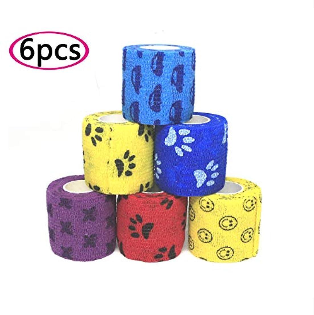 誇張する慰め落胆させるペットフレックス 包帯 サポーター バンテージ 猫 犬 怪我 傷 保護 多機能 粘着包帯 自着性伸縮包帯 弾力包帯6セット