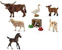 Schleich New Set of 7 Farm Animals: Hereford Cow, Knabstrupper Mare, Donkey, Pig, Golden Retriever, Goat and Lamb
