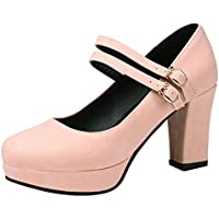 AicciAizzi Women Block Heel Court Shoes Mary Jane
