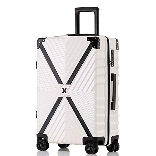 ボンイージ(bonyage) スーツケース ファスナー式 超軽量 TSAロック付 8輪 多段階調節 機内持込 旅行出張 1年保証 ホワイト white Sサイズ 約37L