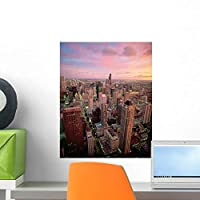 Downtown Chicago Wall Mural by Wallmonkeys Peel and Stick Graphic (18 in H x 14 in W) WM29366 [並行輸入品]