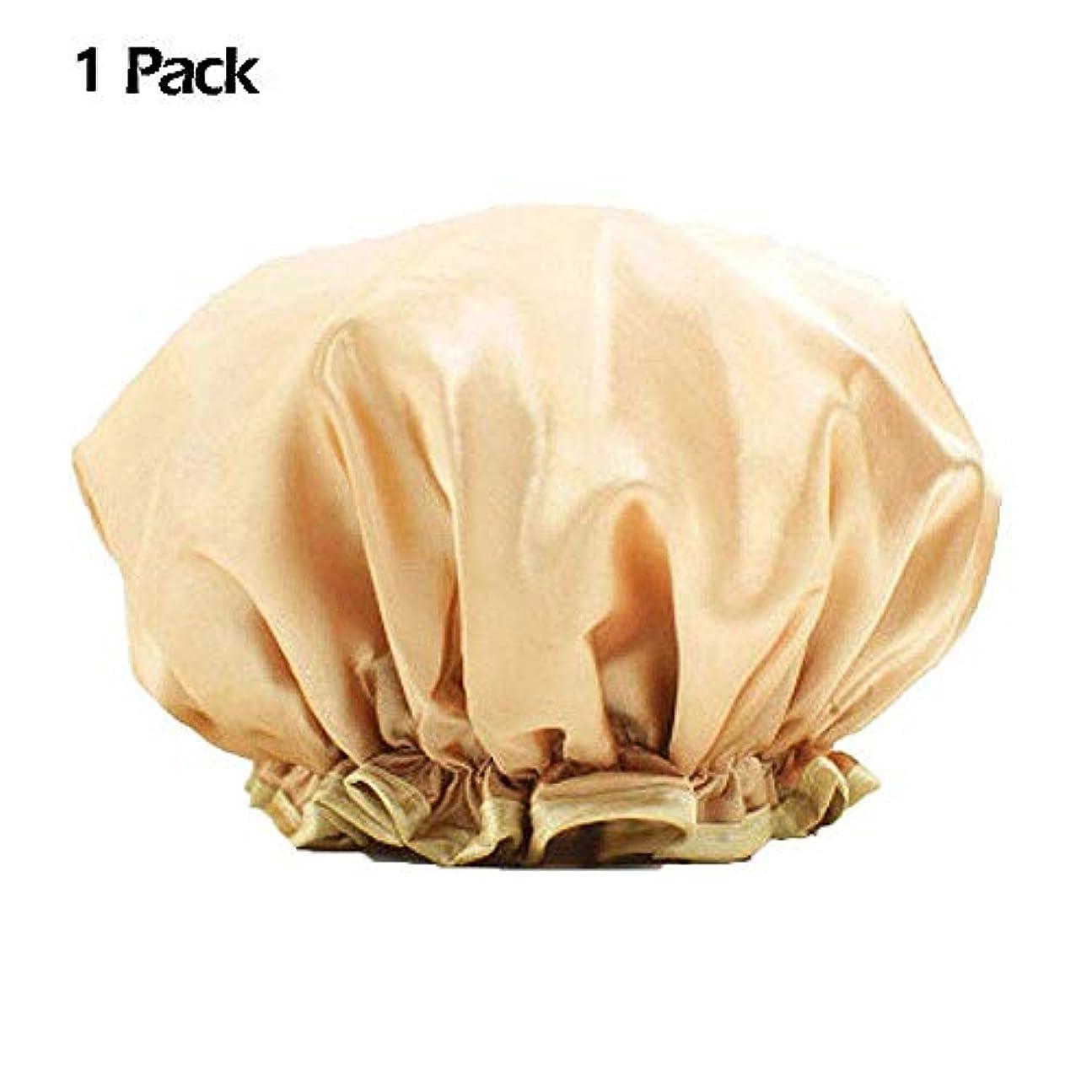 書誌最小固体化粧帽 防水シャワーキャップ 大人 ヘアキャップ 浴用帽子 入浴キャップ シャワー用に 二層 再使用可能なサロンの髪を保護する帽子 ヘアーターバン WangToall (1枚入り)