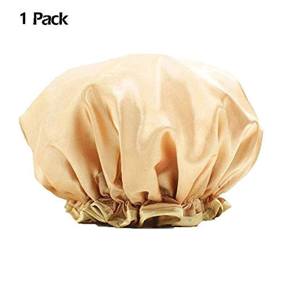 フォーク接続詞悪化させる化粧帽 防水シャワーキャップ 大人 ヘアキャップ 浴用帽子 入浴キャップ シャワー用に 二層 再使用可能なサロンの髪を保護する帽子 ヘアーターバン WangToall (1枚入り)