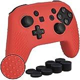 任天堂スイッチ プロ Nintendo Switch Pro コントローラー用 ちりばめ シリコン スキン ケース 保護カバー x 1 (レッド) 耐衝撃 高品質 + FPS PRO ティック カバー x 8