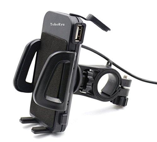 バイク スマホホルダー ON/OFFスイッチ USB 電源 2.4A(5V / 2.4A) 防水 多機種対応 スマートフォン ホルダー バー マウント