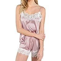 Ausexy Women Lace Trim Satin Cami Sleepwear Sets Sleeveless Strap Tops +Short Pants Nightwear Pajama Lingerie