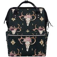 ママバッグ マザーズバッグ リュックサック ハンドバッグ 旅行用 ブル スカル 民族風 ファション