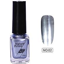 (B) - Yuan Mirror Nail Polish,Metallic Mirror Effect Stainless Steel Solid colour No sequins (B)