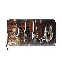長財布 レディース 大容量ガラスビールアルコール食品現代静物ラウンドファスナー 革 レザー おしゃれ カード12枚収納 プレゼント対応