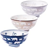 みのる陶器 白くま 軽量茶碗 中 3色セット