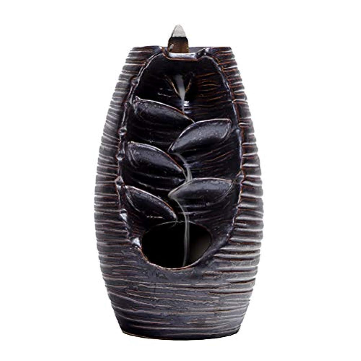 第三哀より平らなVosarea 逆流香バーナー滝香ホルダーアロマ飾り仏教用品(黒)