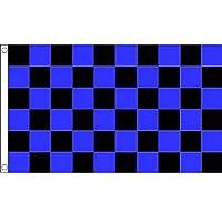 国旗 チェッカーフラッグ レース旗 青 黒 ブルー ブラック 特大フラッグ【ノーブランド品】