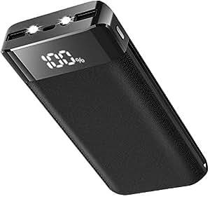 モバイルバッテリー 大容量 20000mAh スマホ充電器 2台同時充電 持ち運び充電器 2USB出力ポートでき 急速充電 LCD残量表示 地震/災害/旅行/出張/アウトドア活動 iPhone/iPad/Android各種対応 (ブラック)