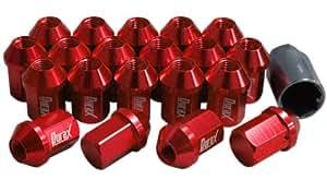 デュラックス(Durax) 7075 アルミショートレーシングナット M12×P1.5 袋タイプ 20個セット 赤