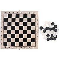 Lovoski 折りたたみ 木製ケース 国際チェッカー ドラフツ チェッカーセット ボードゲーム  64フィールド