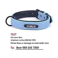 パーソナライズされた犬の首輪調節可能なソフトレザーカスタム犬の首輪名IDタグ猫子犬用大型犬の首輪ペットアクセサリー-青-Lネック34-43cm