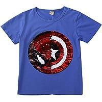 Frontiersman Boys Sequin Shirt T-Shirts Reversible Sequin, Fun boy T-Shirt Short Sleeves.