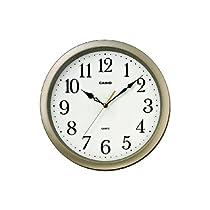 カシオ スムーズ秒針アナログ掛時計 シャンパンゴールド/ブラウン 丸型 IQ-48S-9JF