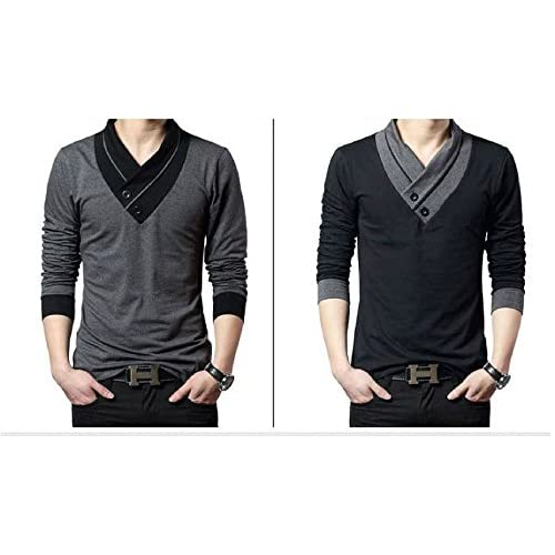 【ARINCO】 クール メンズ 長袖 シャツ Vネック おしゃれ 個性的 春 セーター 大きい サイズ (グレー, L)