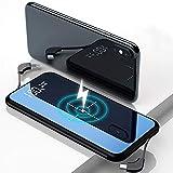 モバイルバッテリー 薄型 Qi 軽量 10000mAh ワイヤレス iphone 充電バッテリー 大容量 【PSE認証済】 急速充電 ガラス画面 Nakyo 薄型 無線充電器 ケーブル内蔵 置くだけ充電 持ち運び USBポート micro USB ポート lightning TYPE-C 変換アダプターが付き 無線と有線両用 4台同時充電 残量表示機能付き iPhone / iPad / Android 各種他QI対応 出張 地震防災 黒