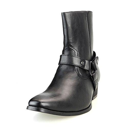 [アンバイルシウス] AN ショートブーツ メンズ ハイヒール リングブーツ プレーントゥ サイドジップ ジョッパーブーツ ブラックスムース 黒 M(26.0~26.5cm)