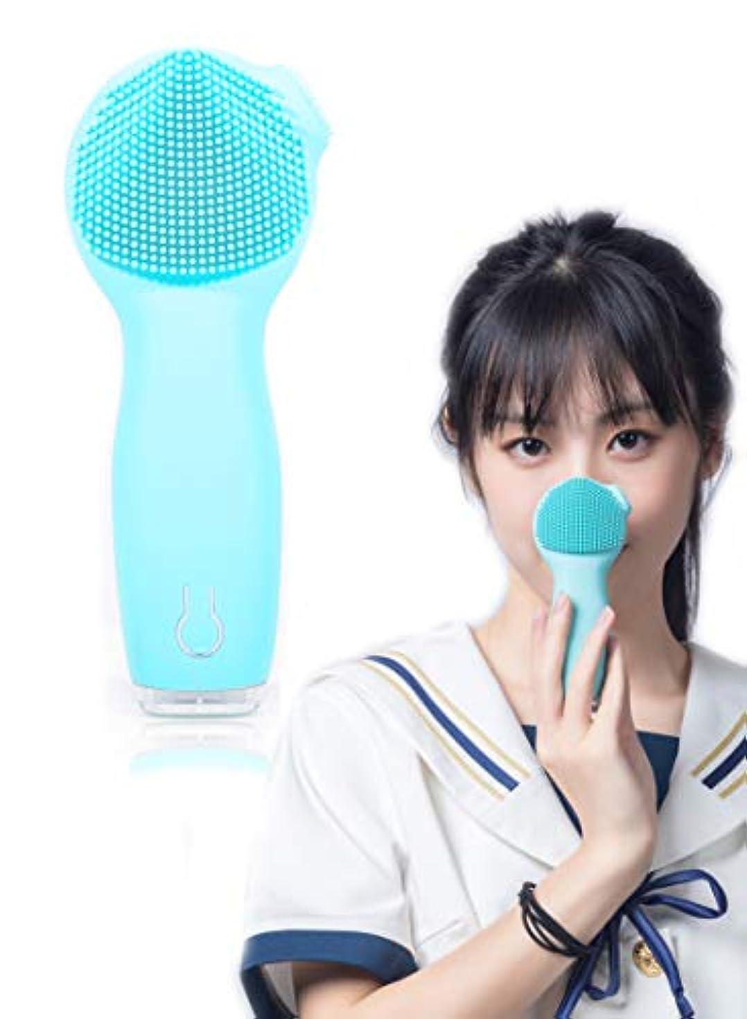 誰か予定愛撫洗顔ブラシ 音波電動 UGS優肌詩 二つ振動モード 3段階スピード調節 日本語取扱書付 シリコン 毛穴すっきり マッサージ洗顔器 IPX7防水 角質除去 透明肌へ (ブルー)