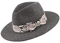 Y-BOA ウールハット フェルトハット 中折れハット 女優帽 つば広 レディース 女性 リボン飾り 柔らかい 上品 エレガント レトロ 秋冬 保温 通勤 旅行 アウトドア グレー